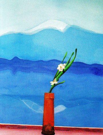 David Hockney - Fuji-berg met bloemen - 1972