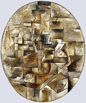 Georges Braque - Kandelaar en kaarten op een tafel - 1910