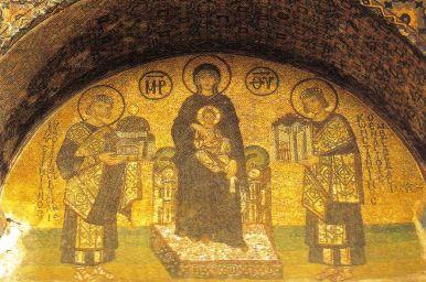 Haghia Sophia 14 (Justinianus, Maria met Kind en Constantijn)