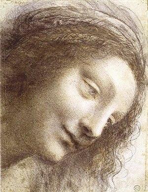 Leonardo da Vinci - Hoofd van Maria