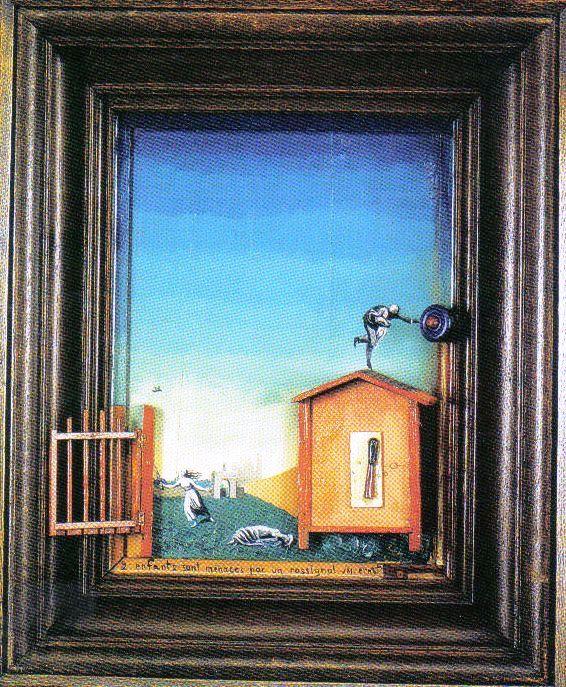 Max Ernst - Twee kinderen bedreigd door een nachtegaal - 1924