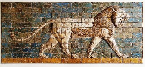 Paneel met vechtende leeuwen - Babylonië - 570 v.C.
