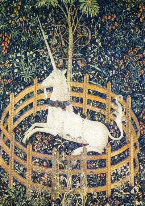 Tapijt met de figuur van een enhoorn in gevangenschap - 1505