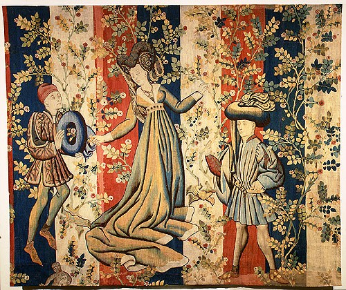 Tapijt met figuren in de rozentuin - 1455